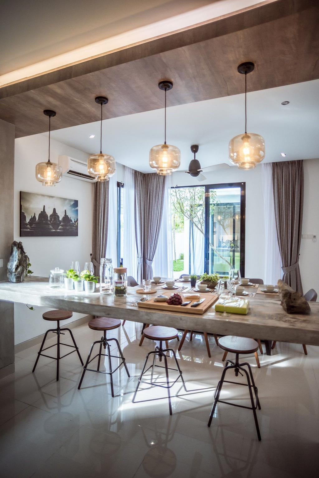 Contemporary, Landed, Dining Room, The Enclave, Ipoh, Architect, Code Red Studio, Overhead Wooden Beam, Suspended Bar, Concrete Bar, Indoors, Interior Design, Room, Dining Table, Furniture, Table