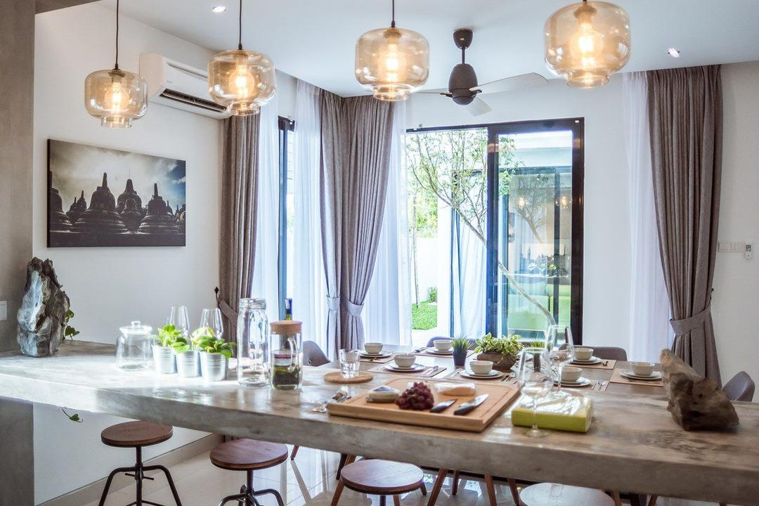 The Enclave, Ipoh, Code Red Studio, Contemporary, Dining Room, Landed, Overhead Wooden Beam, Suspended Bar, Concrete Bar, Indoors, Interior Design, Room, Dining Table, Furniture, Table