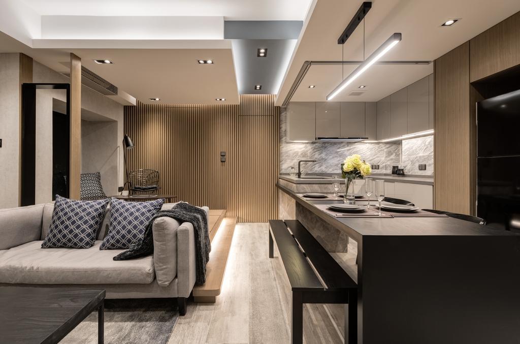 摩登, 私家樓, 客廳, 都會駅, 室內設計師, Pixel Interior Design, Indoors, Interior Design, Couch, Furniture, Dining Table, Table