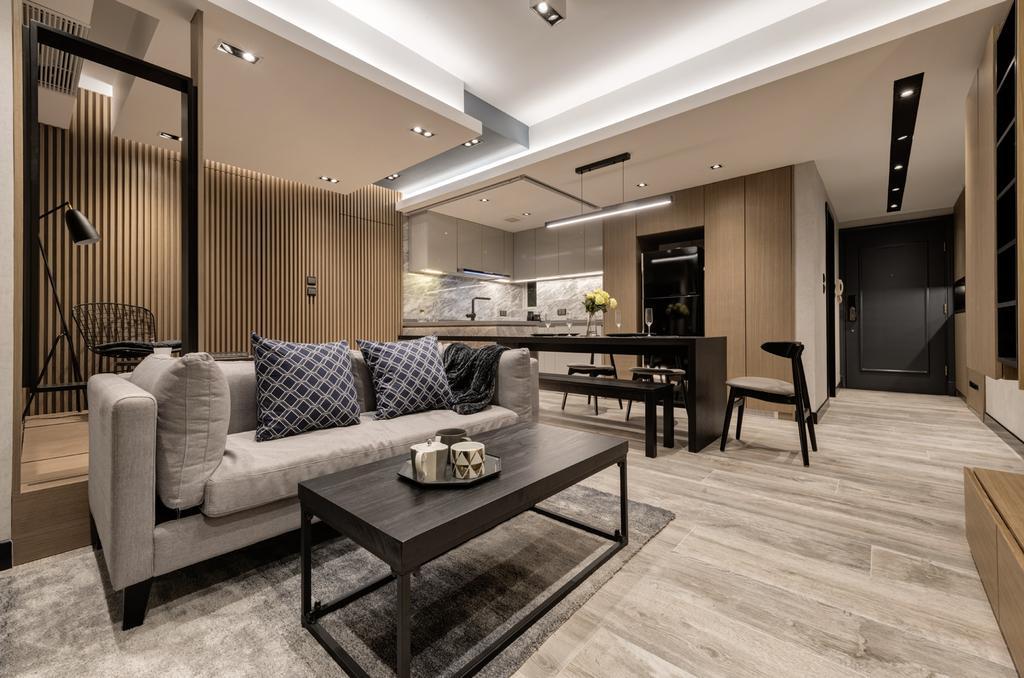 摩登, 私家樓, 客廳, 都會駅, 室內設計師, Pixel Interior Design, Chair, Furniture, Couch, Indoors, Interior Design, Hardwood, Wood