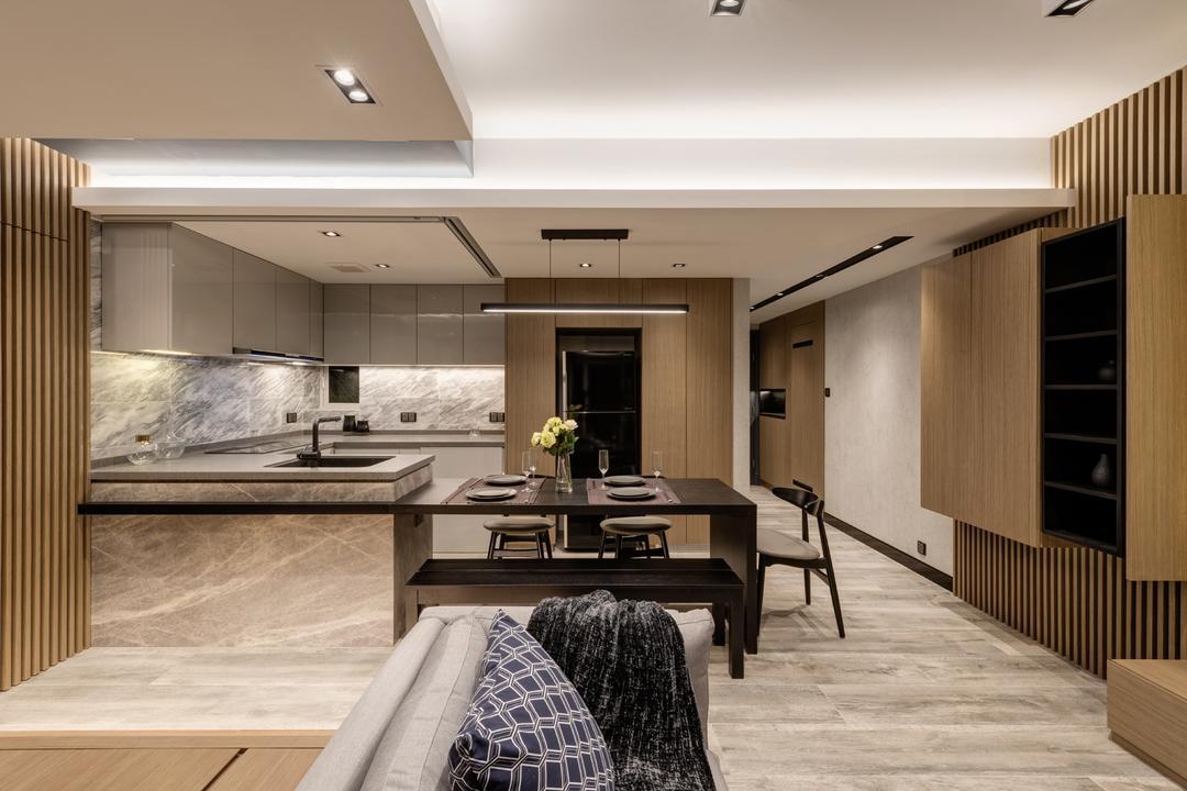 都會駅, Pixel Interior Design, 摩登, 廚房, 私家樓, Banister, Handrail, Staircase, Indoors, Interior Design, Dining Table, Furniture, Table