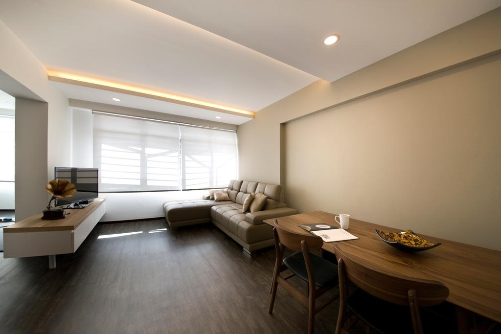 Minimalistic, HDB, Living Room, Bendemeer Road, Interior Designer, ECasa Studio, Indoors, Room, Dining Table, Furniture, Table, Chair, Flooring
