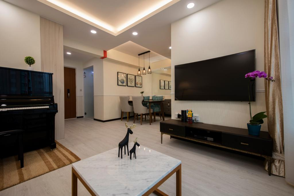 Modern, HDB, Living Room, Clementi (Block 312B), Interior Designer, ECasa Studio, Minimalistic, Leisure Activities, Music, Musical Instrument, Piano, Upright Piano