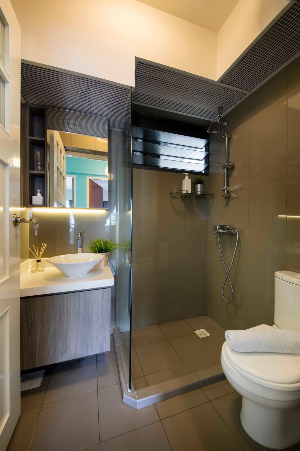 Scandinavian, HDB, Bathroom, Punggol Walk (Block 310B), Interior Designer, ECasa Studio, Flora, Jar, Plant, Potted Plant, Pottery, Vase, Indoors, Interior Design, Room