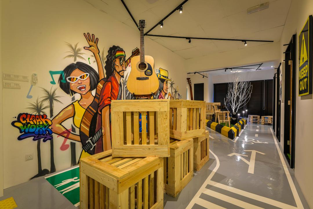 Yue Studio, Dot Works, Eclectic, Commercial, Human, People, Person, Box, Crate, Guitar, Leisure Activities, Music, Musical Instrument, Indoors, Lobby, Room, Plywood, Wood, Art, Modern Art, Lumber