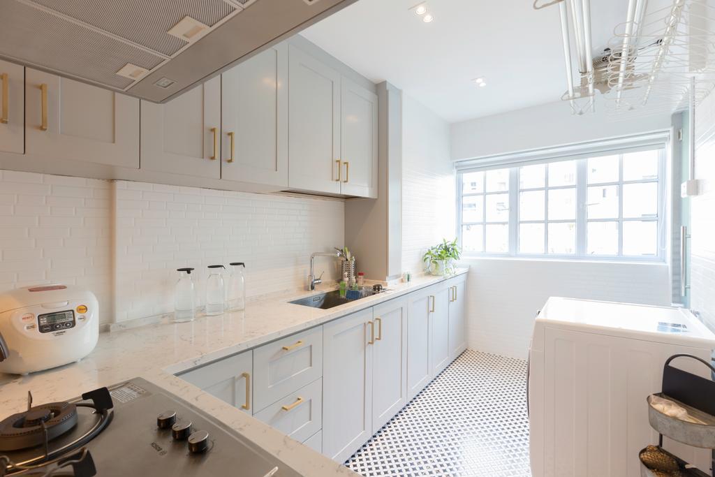 HDB, Kitchen, Tampines Street 21, Interior Designer, PHD Posh Home Design, Indoors, Interior Design, Room, Sink