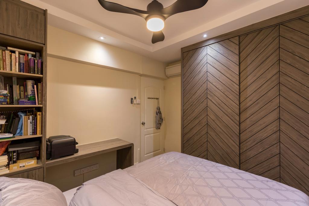 HDB, Bedroom, Tampines Street 21, Interior Designer, PHD Posh Home Design, Book, Bookcase, Furniture, Bed