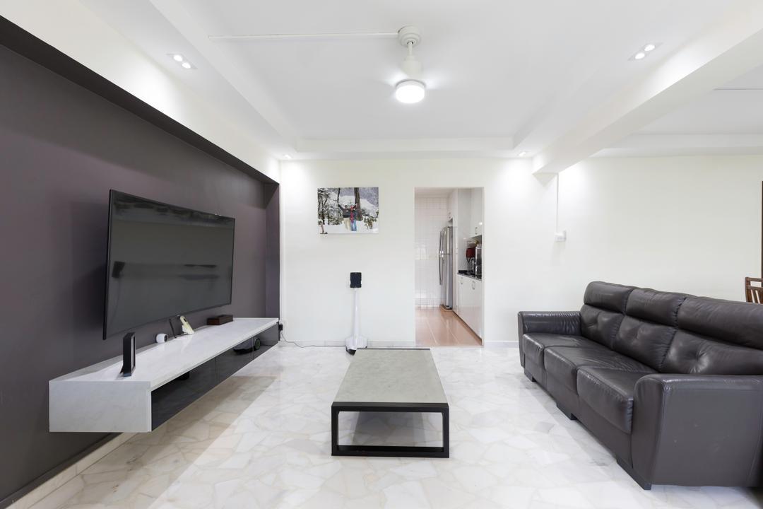 Tampines Street 33, PHD Posh Home Design, Modern, Living Room, HDB, Bathroom, Indoors, Interior Design, Room, Couch, Furniture, Ottoman
