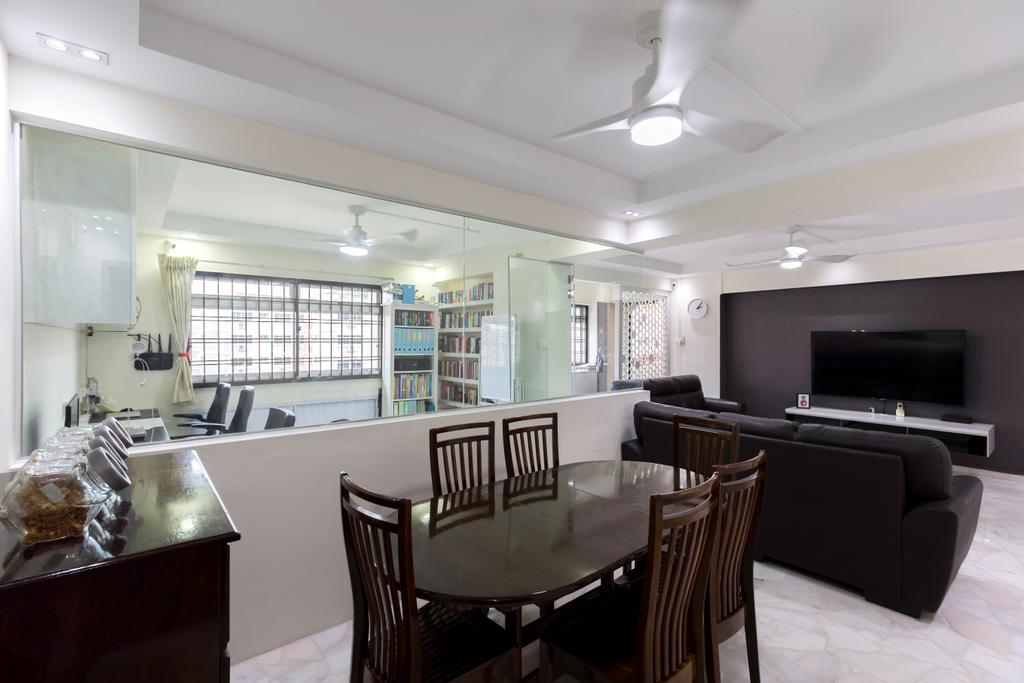 Modern, HDB, Dining Room, Tampines Street 33, Interior Designer, PHD Posh Home Design, Chair, Furniture, Electronics, Entertainment Center, Home Theater, Dining Table, Table, Sink, Indoors, Interior Design, Room
