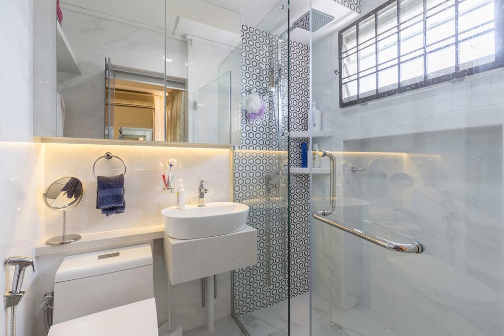Modern, HDB, Bathroom, Tampines Street 33, Interior Designer, PHD Posh Home Design, Sink, Indoors, Interior Design, Room