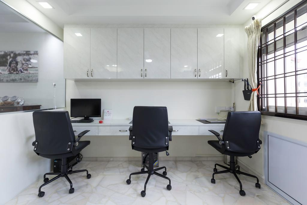 Modern, HDB, Study, Tampines Street 33, Interior Designer, PHD Posh Home Design, Chair, Furniture, Conference Room, Indoors, Meeting Room, Room