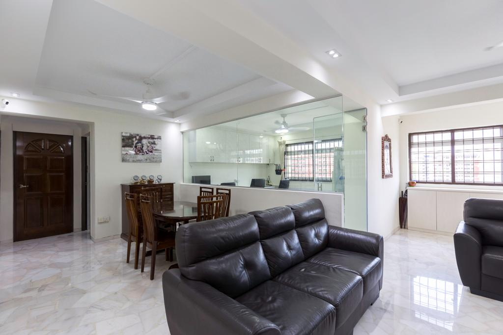 Modern, HDB, Living Room, Tampines Street 33, Interior Designer, PHD Posh Home Design, Dining Table, Furniture, Table, Couch