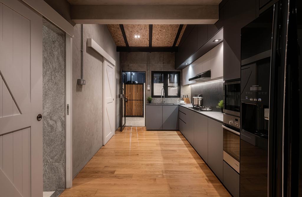 Industrial, Landed, Kitchen, Stirling Road, Interior Designer, Posh Home, Scandinavian, Flooring, Electronics, Entertainment Center, Floor