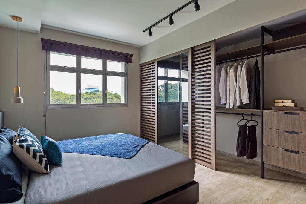 Industrial, HDB, Bedroom, Telok Blangah Heights, Interior Designer, KDOT, Bed, Furniture, Coat Rack, Closet, Wardrobe