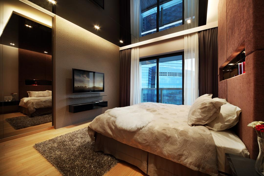 Marina Bay Suites, Briey Interior, Modern, Bedroom, Condo, Architecture, Building, Skylight, Window, Electronics, Monitor, Screen, Tv, Television, Indoors, Room