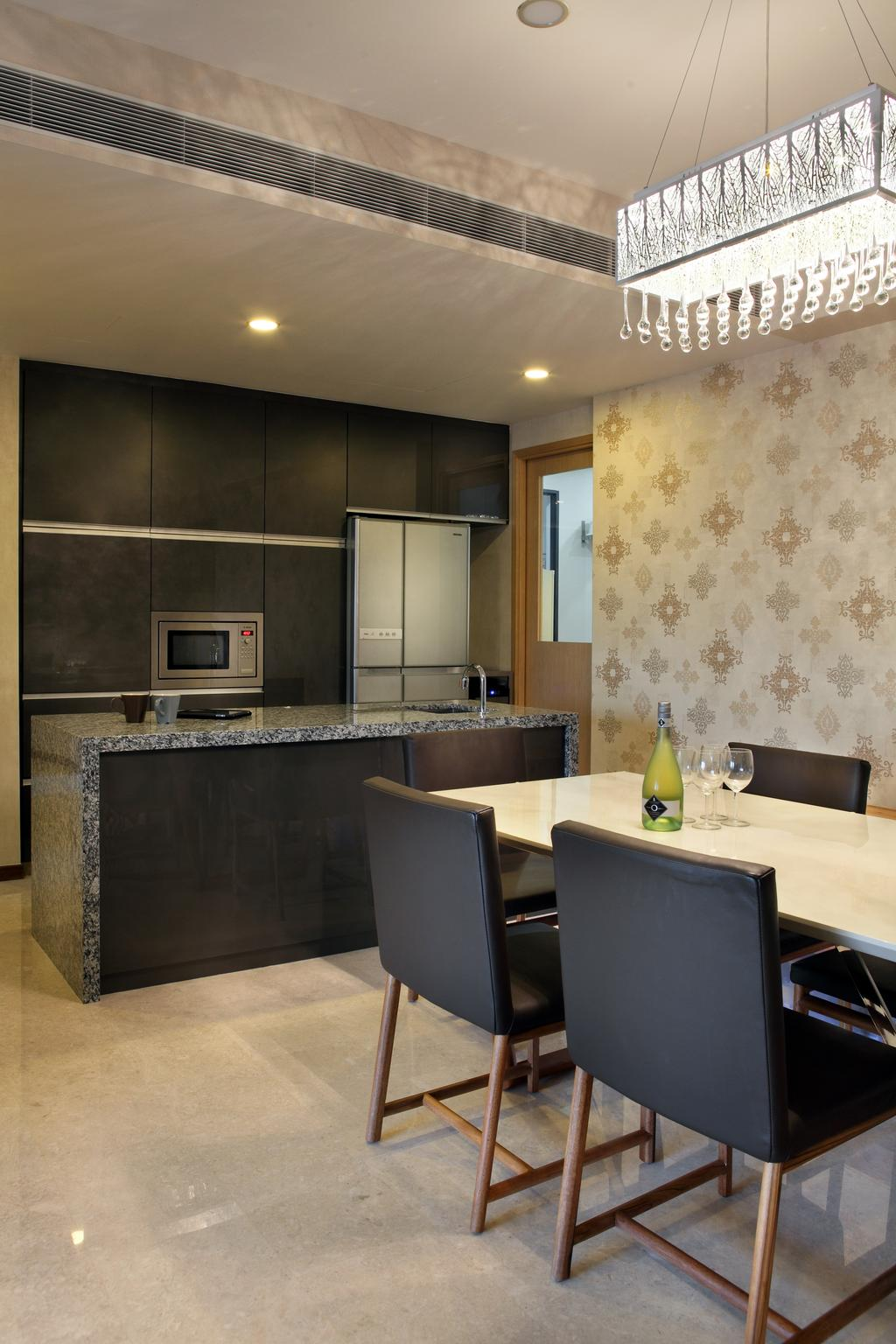 Modern, Condo, Dining Room, Rochelle @Newton, Interior Designer, Briey Interior, Appliance, Electrical Device, Microwave, Oven, Indoors, Interior Design, Kitchen, Room