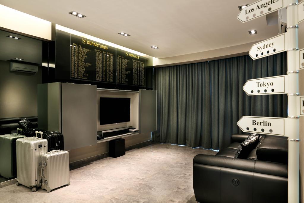 Modern, Condo, Living Room, Queens, Interior Designer, Briey Interior, Electronics, Entertainment Center, Home Theater, Chair, Furniture