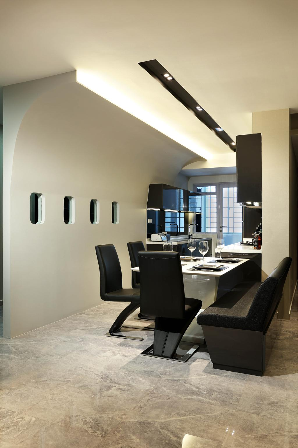 Modern, Condo, Dining Room, Queens, Interior Designer, Briey Interior, Chair, Furniture, Couch, Indoors, Interior Design, Room, HDB, Building, Housing, Loft