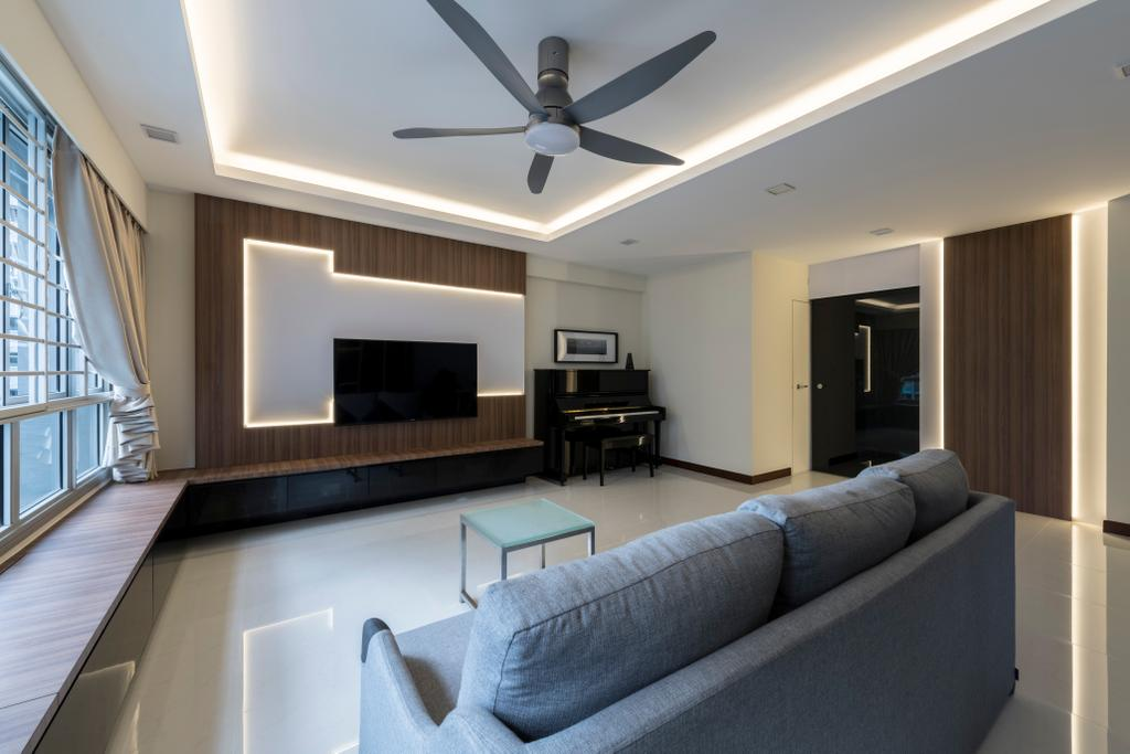 Modern, HDB, Living Room, Woodlands Rise, Interior Designer, DS 2000 Interior & Design, Couch, Furniture, Architecture, Building, Skylight, Window, Indoors, Room