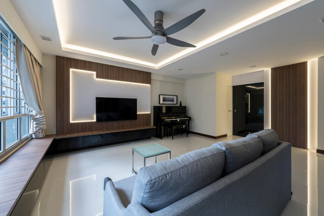 Woodlands Rise, DS 2000 Interior & Design, Modern, Living Room, HDB, Couch, Furniture, Architecture, Building, Skylight, Window, Indoors, Room