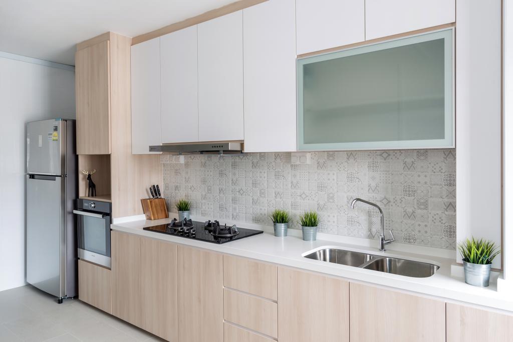 Modern, HDB, Kitchen, Pipit Road, Interior Designer, Starry Homestead, Scandinavian, Indoors, Interior Design, Room, Wall