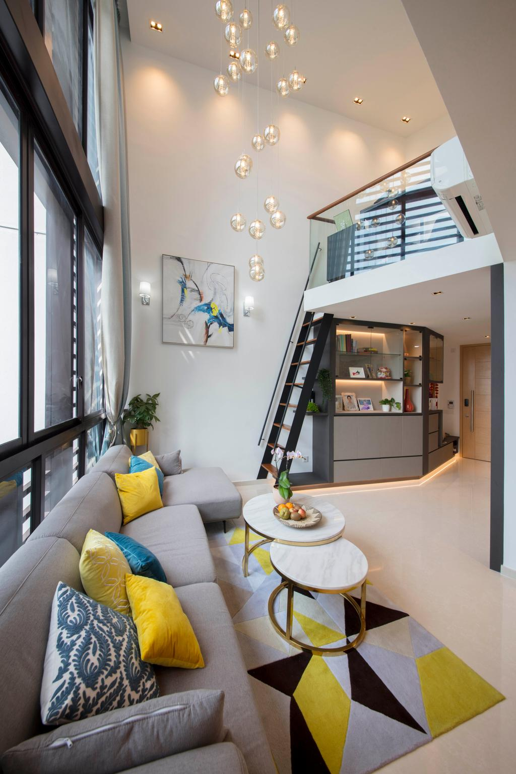 Modern, Condo, Living Room, The Crest, Interior Designer, Starry Homestead, Flora, Jar, Plant, Potted Plant, Pottery, Vase, Banister, Handrail, Staircase