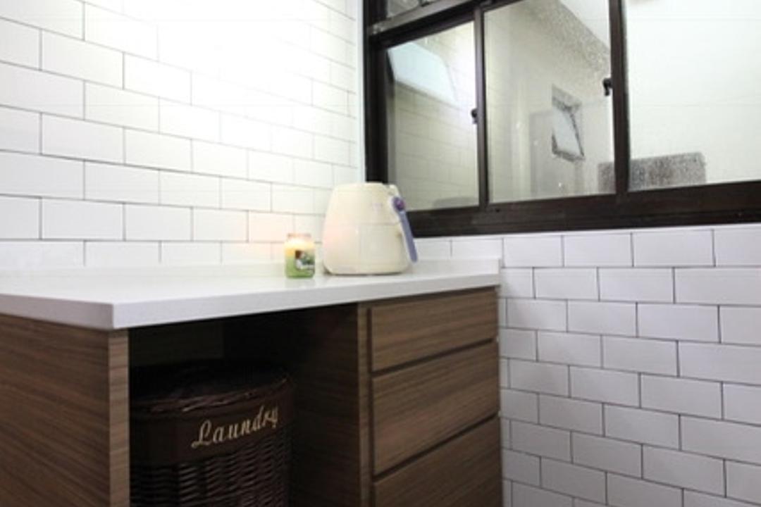 Sembawang Close, Aestherior, Modern, Kitchen, HDB, Door, Sliding Door, Mirror, Bathroom, Indoors, Interior Design, Room