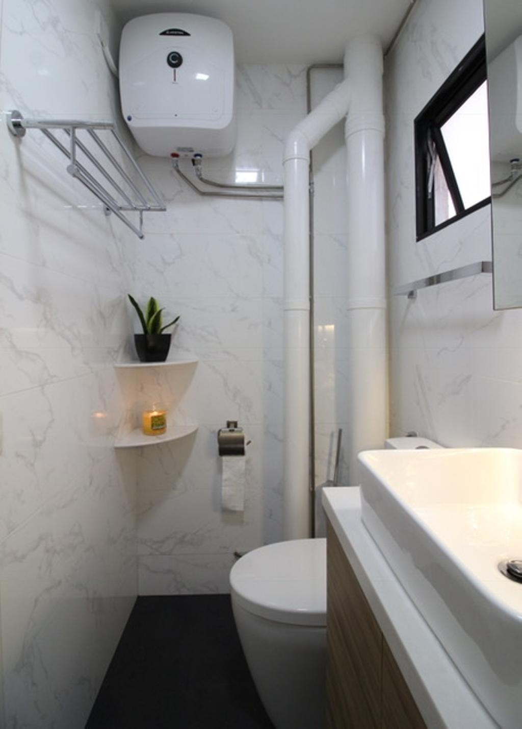 Modern, HDB, Bathroom, Sembawang Close, Interior Designer, Aestherior, Art, Blossom, Flora, Flower, Flower Arrangement, Ikebana, Jar, Ornament, Plant, Pottery, Vase, Pot