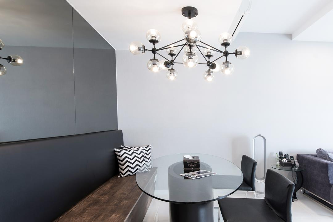 Ecopolitan, Carpenters 匠, Minimalistic, Modern, Dining Room, Condo, Indoors, Interior Design, Room, Chandelier, Lamp, Electronics, Loudspeaker, Speaker