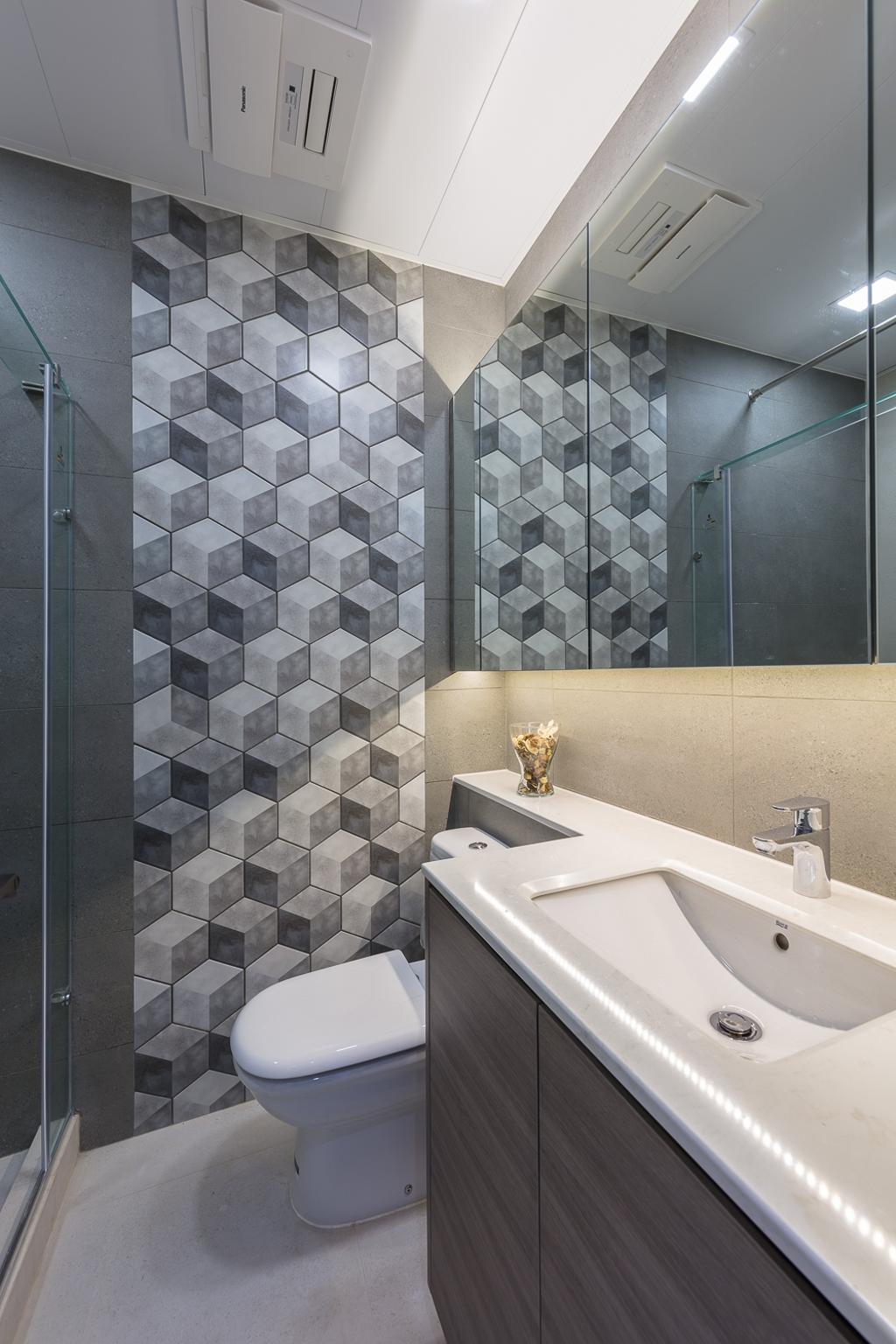 摩登, 私家樓, 浴室, 一號銀海, 室內設計師, 和生設計, Indoors, Interior Design, Room