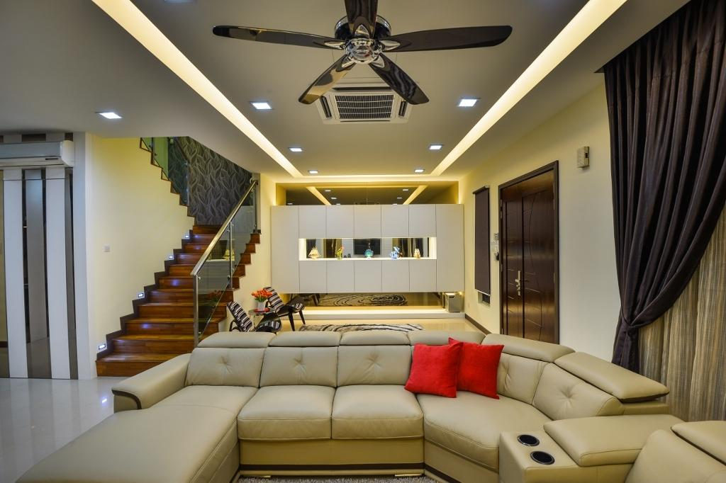 Traditional, Landed, Living Room, Setia Eco Park 2, Interior Designer, Surface R Sdn. Bhd., Couch, Furniture, Banister, Handrail, Light Fixture, Indoors, Interior Design