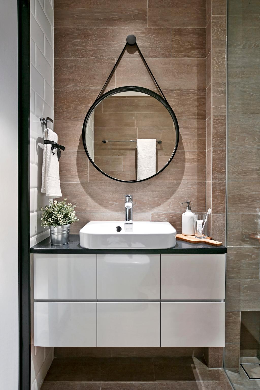Modern, HDB, Bathroom, Punggol Central, Interior Designer, akiHAUS, Towel, Indoors, Interior Design, Room, Flora, Jar, Plant, Potted Plant, Pottery, Vase