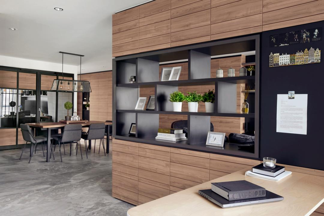 Punggol Central, akiHAUS, Modern, Study, HDB, Dining Table, Furniture, Table, Indoors, Interior Design, Flora, Jar, Plant, Planter, Potted Plant, Pottery, Vase
