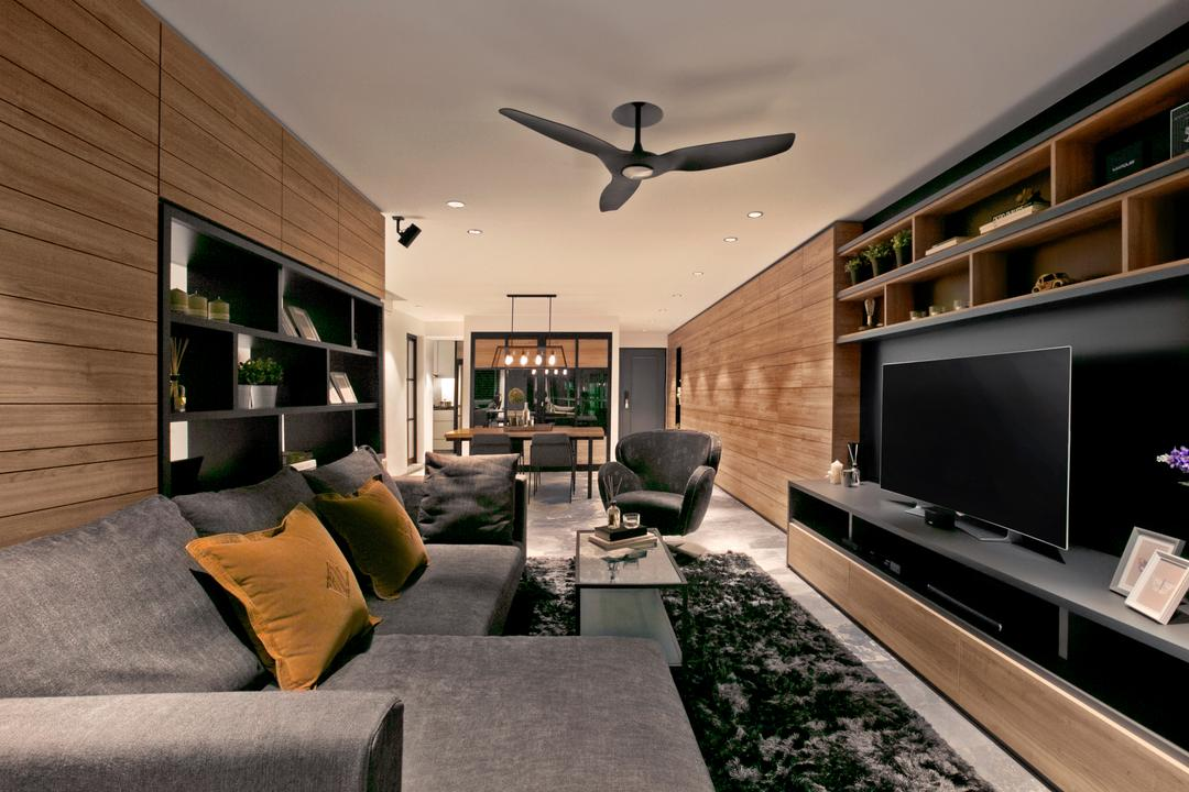 Punggol Central, akiHAUS, Modern, Living Room, HDB, Couch, Furniture, Indoors, Interior Design, Electronics, Lcd Screen, Monitor, Screen