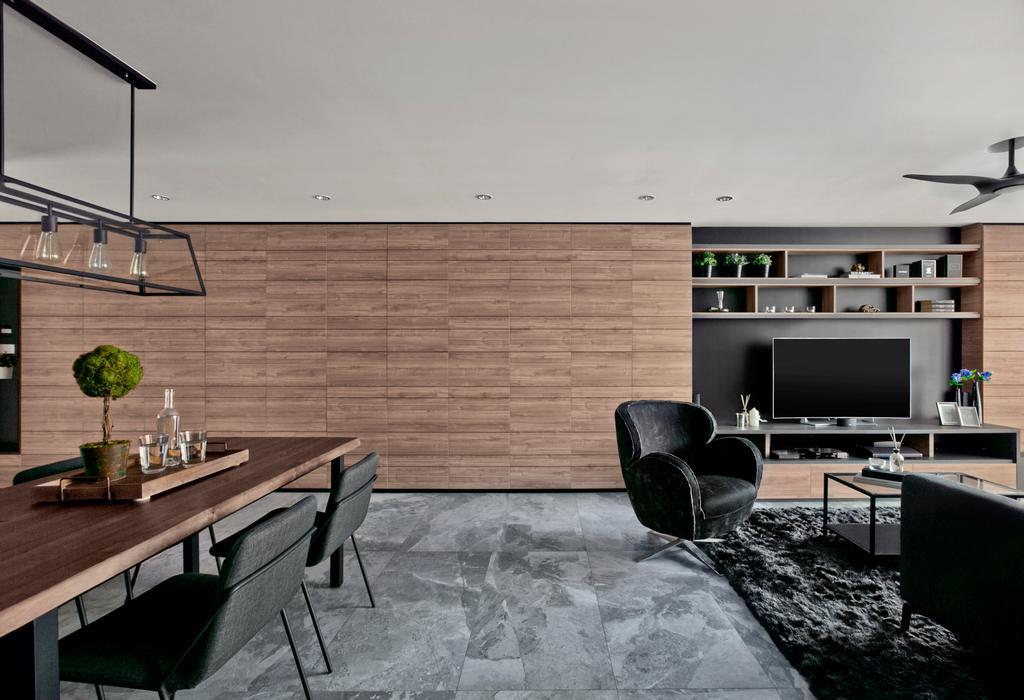 Modern, HDB, Living Room, Punggol Central, Interior Designer, akiHAUS, Chair, Furniture, Dining Table, Table, Building, Housing, Indoors, Loft, Bonsai, Flora, Jar, Plant, Potted Plant, Pottery, Tree, Vase