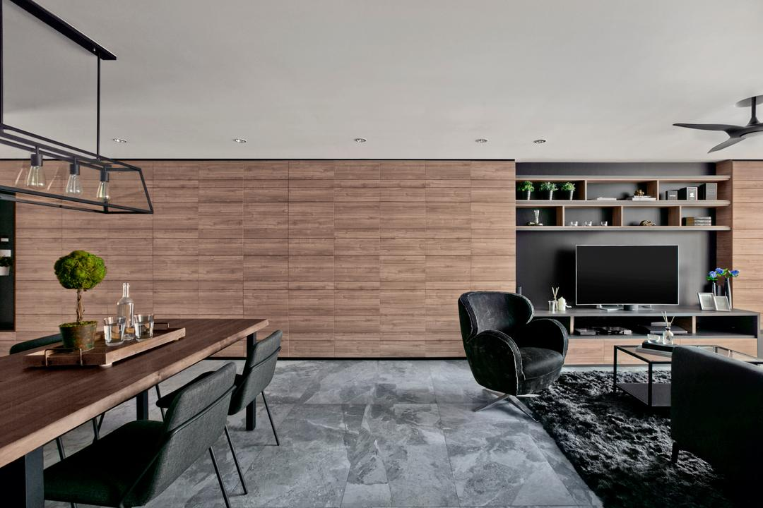 Punggol Central, akiHAUS, Modern, Living Room, HDB, Chair, Furniture, Dining Table, Table, Building, Housing, Indoors, Loft, Bonsai, Flora, Jar, Plant, Potted Plant, Pottery, Tree, Vase