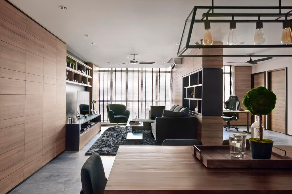 Modern, HDB, Living Room, Punggol Central, Interior Designer, akiHAUS, Flora, Jar, Plant, Potted Plant, Pottery, Vase, Building, Housing, Indoors, Loft, House, Villa