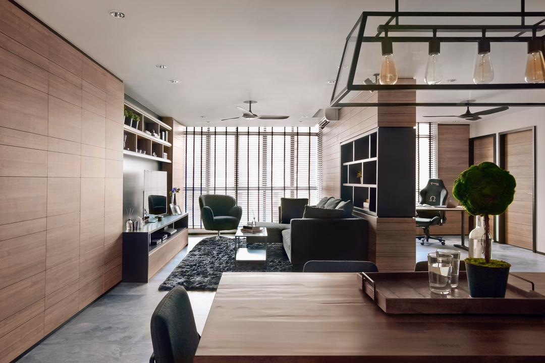 Punggol Central, akiHAUS, Modern, Living Room, HDB, Flora, Jar, Plant, Potted Plant, Pottery, Vase, Building, Housing, Indoors, Loft, House, Villa
