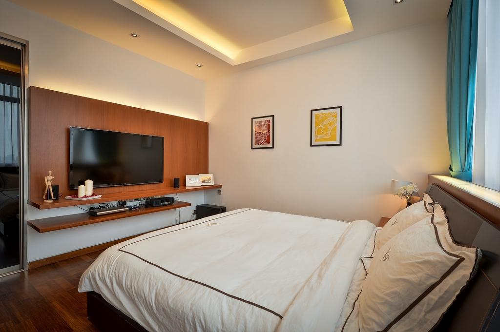 Contemporary, Condo, Bedroom, Damansara Heights, Interior Designer, Surface R Sdn. Bhd., Bed, Furniture, Electronics, Entertainment Center, Home Theater, Indoors, Room, Interior Design