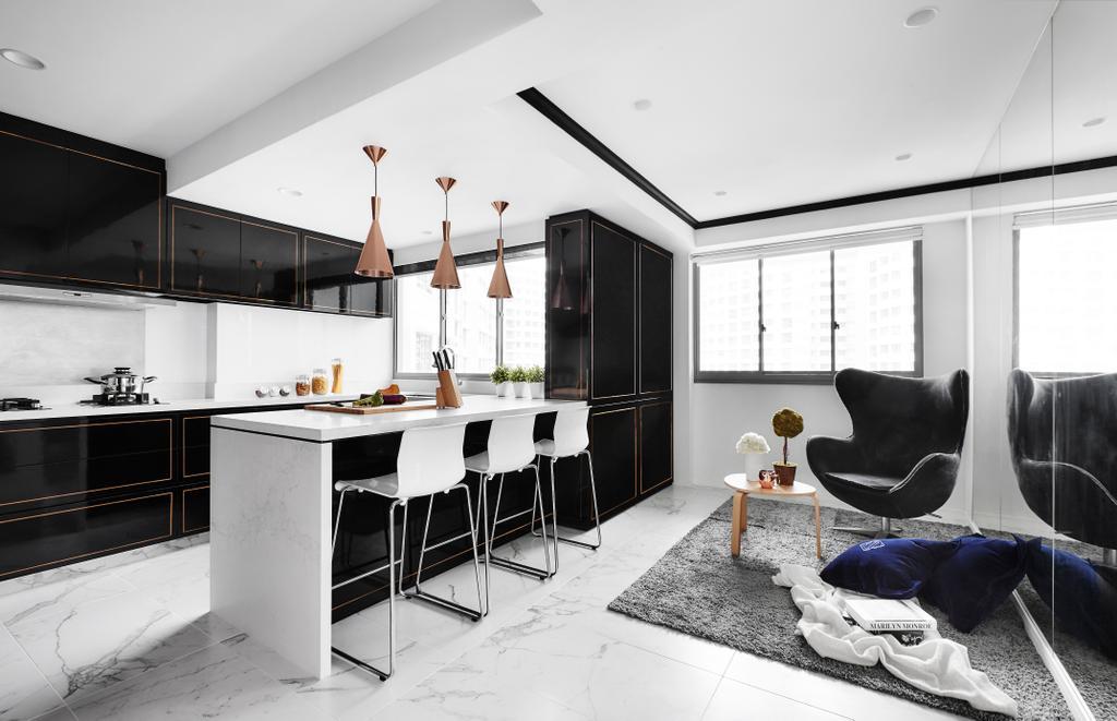 Modern, HDB, Dining Room, Punggol Drive, Interior Designer, akiHAUS, Dining Table, Furniture, Table, Sideboard, Chair, Clothing, Footwear, Shoe