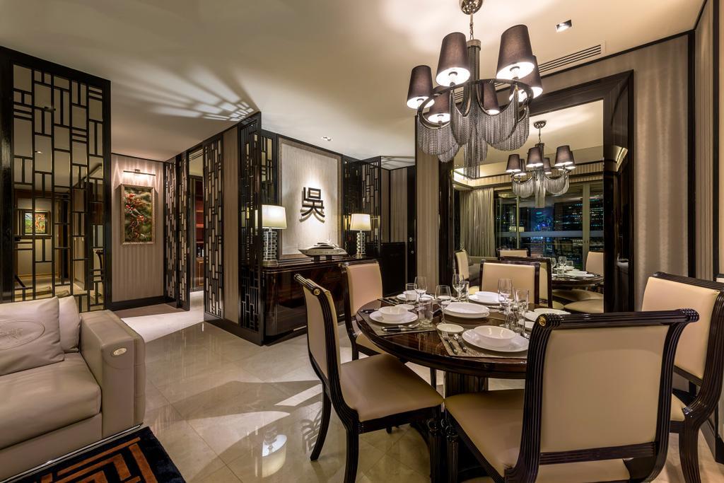 Eclectic, Condo, Dining Room, Concourse Skyline, Interior Designer, akiHAUS, Indoors, Interior Design, Room, Restaurant, Sink, Chair, Furniture, Dining Table, Table