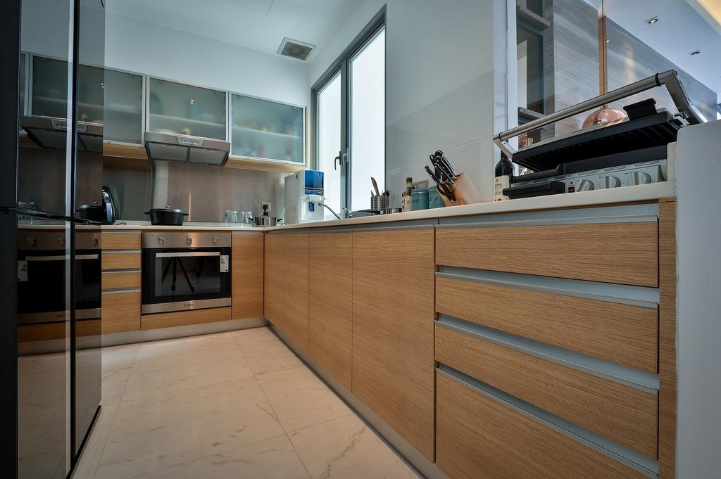 Contemporary, Condo, Kitchen, Damansara Heights, Interior Designer, Surface R Sdn. Bhd., Door, Sliding Door, Appliance, Electrical Device, Oven, Indoors, Interior Design, Room