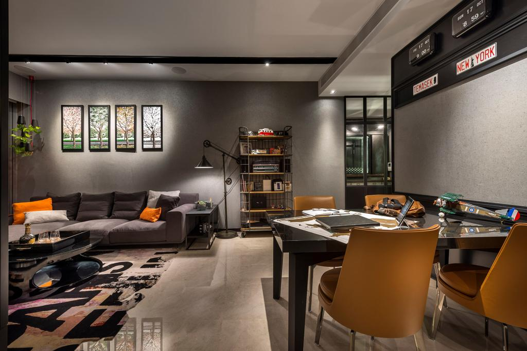 Eclectic, Condo, Living Room, Concourse Skyline, Interior Designer, akiHAUS, Chair, Furniture, Flooring, HDB, Building, Housing, Indoors, Loft