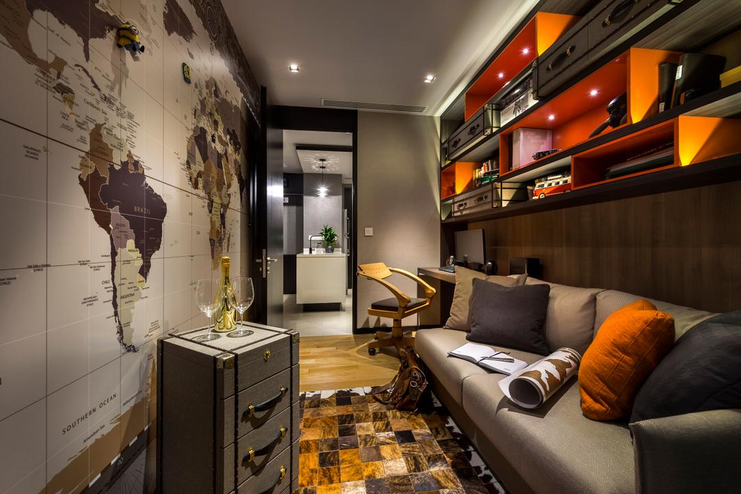 Concourse Skyline, akiHAUS, Eclectic, Study, Condo, Couch, Furniture, HDB, Building, Housing, Indoors, Loft, Reception, Trunk, Atlas, Diagram, Map
