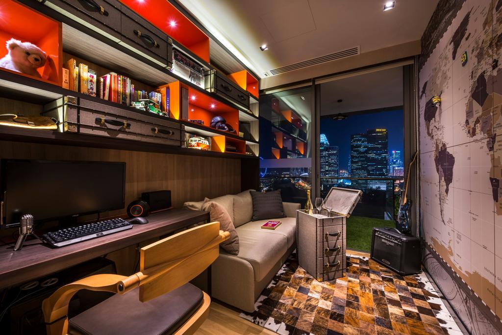 Eclectic, Condo, Concourse Skyline, Interior Designer, akiHAUS, Couch, Furniture, Bar Counter, Pub