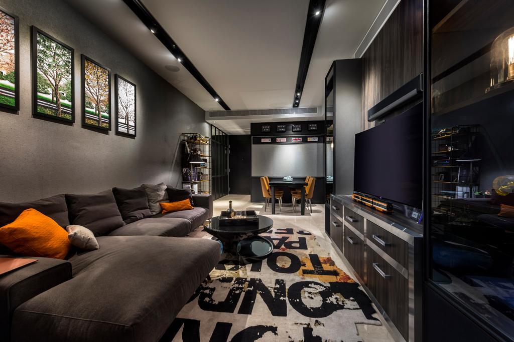 Eclectic, Condo, Living Room, Concourse Skyline, Interior Designer, akiHAUS, Couch, Furniture
