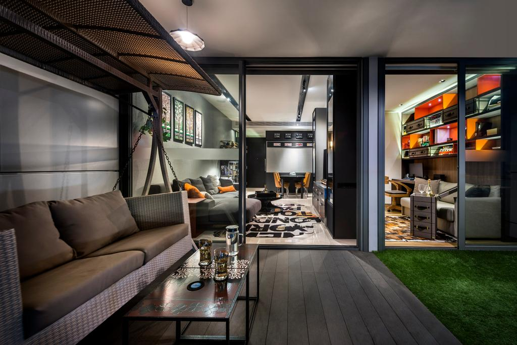 Eclectic, Condo, Balcony, Concourse Skyline, Interior Designer, akiHAUS, Couch, Furniture, Indoors, Interior Design