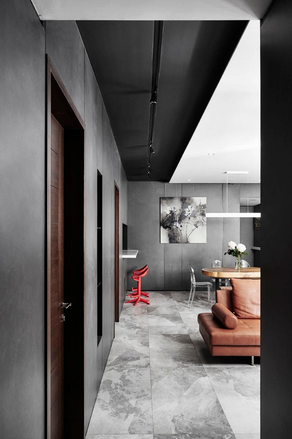 Modern, Condo, Living Room, River Place, Interior Designer, akiHAUS, Art, Modern Art, Corridor