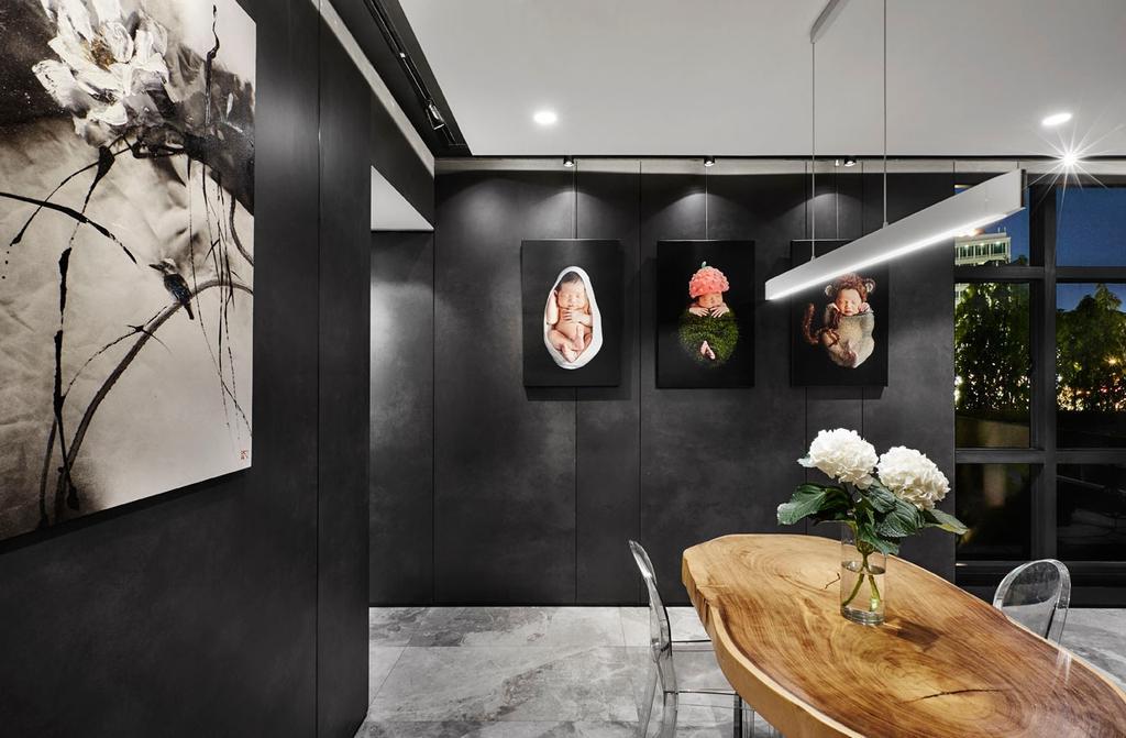 Modern, Condo, Dining Room, River Place, Interior Designer, akiHAUS, Flora, Jar, Plant, Potted Plant, Pottery, Vase