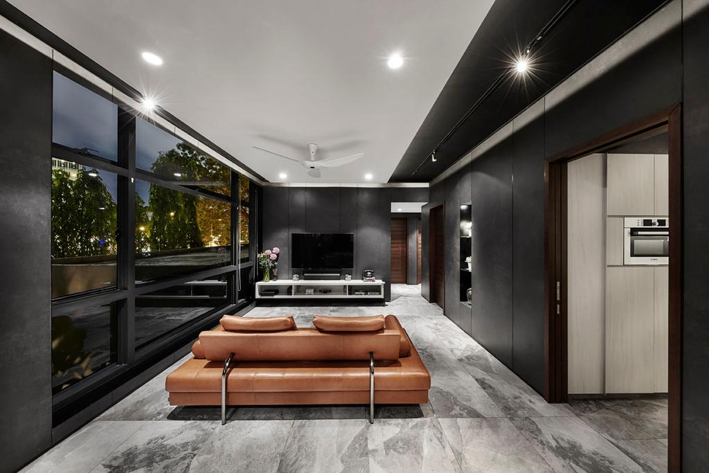 Modern, Condo, Living Room, River Place, Interior Designer, akiHAUS, Flora, Jar, Plant, Potted Plant, Pottery, Vase, Corridor, Couch, Furniture, Indoors, Interior Design